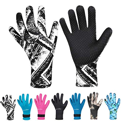 Neoprene Gloves Diving Wetsuit Gloves 3mm Glued Anti-Slip Flexible Thermal with Adjustable Waist...