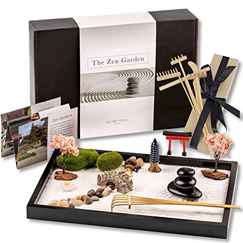 Island Falls Home Zen Garden Kit 11x8 inch Beautiful premium Japanese...