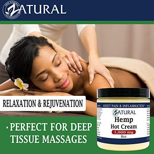Hemp Hot Cream-Hemp Oil-Organic Hot Cream-Anti Cellulite-Muscle Cream-Pain Support (1,000mg) 4