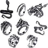 8 Pieces Vintage Punk Rings Octopus Dragon Snake Adjustable Ring