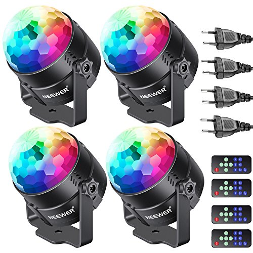 Neewer 4-Pack Mini Luce LED a Stage Luce a Suono del Partito Remoto Controllo RGB 7 Colori Luce...