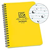 Rite in the Rain All-Weather Side-Spiral Notebook, 4 5/8' x 7', Yellow Cover, Journal Pattern (No. 393)