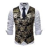 Gilet Homme Classique Paisley Floral Mariage Soirée Slim Fit Formel Business avec Bouton, Noir Or, XXL