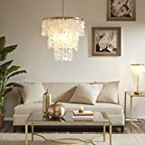 Madison Park Signature MPS150-0093 Isla Modern Classic Chandeliers-Metal, White Shell Shade Pendant Ligthing Lamp Ceiling Dining Room Lighting Fixtures Hanging