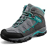 Clorts Women's Pioneer Hiking Boots Waterproof Suede Leather Lightweight Hiking Shoes Grey/Turquoise US Women Size 7.5 Medium Width