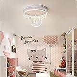 Lámpara LED de techo para niños, regulable, con mando a distancia, diseño de luna estrellada, moderna lámpara de techo para dormitorio infantil blanco Blanco