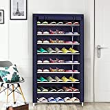 PYXBE Multipurpose Portable Folding Shoes Rack 9 Tiers Multi-Purpose Shoe Storage Organizer Cabinet Tower with Iron and Nonwoven Fabric with Zippered Dustproof Cover Color Navy Blue