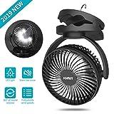 JOMST Portable Camping Fan LED Lantern, 4 Speeds Personal Silent Mini Desk Fan,USB Rechargeable 5000mAh Battery Operated Clip on Fan with Hook,Cooling Fan for Camping, Stroller, Office