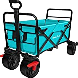 BEAU JARDIN Folding Wagon Cart with Brake Free Standing Collapsible Utility Camping Grocery Canvas Fabric Sturdy Portable Rolling Buggies Outdoor Garden Sport Heavy Duty Shopping Cart Wagon Blue