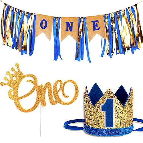 1st Birthday Baby Boy Royal Decorations - Boys Highchair Burlap Decoration Supplies Set, First Blue Prince Crown Hat, ONE Glitter Gold Cake Topper - Double Sided with Crown   Smash Party Decor Kit