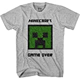 Minecraft Boys Video Game T-Shirt - Black and Green Creeper Face - Official Shirt (Heather Grey Sequins, Small)