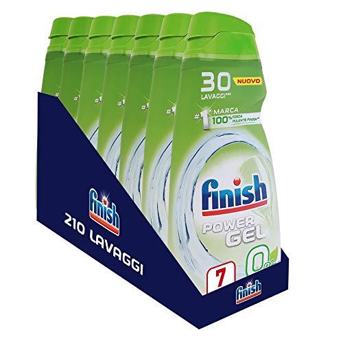 Finish Powergel, Gel Detersivo per Lavastoviglie Liquido, Multiazione, 0%, 210 Lavaggi, 7 Confezioni da 30 Lavaggi