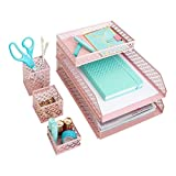 Blu Monaco Office Supplies Pink Desk Accessories for Women-6 Piece Interlocking Desk Organizer Set- Pen Cup, 3 Assorted Accessory Trays, 2 Letter Trays-Pink Room Decor for Women and Teen Girls (Office Product)