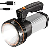 CSNDICE 35W Rechargeable Handheld Flashlights- High Lumens Spotlight 9000 Lumens, IPX45 Waterproof Rechargeable Spotlight USB Output 6600mAh, Can be Used for Home and Outdoor use