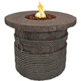 Sunnydaze 29-Inch Rope and Barrel Design Propane Gas Fire Pit Table with Lava Rocks - Outdoor Patio and Backyard Fireplace Kit