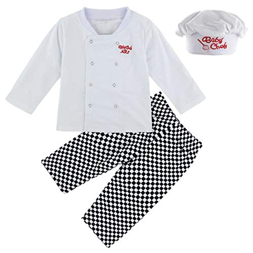 Mombebe Bambino Ragazzino Chef Costume Abbigliamento Set con Cappello (Chef, 4 Anni)
