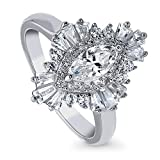BERRICLE Rhodium Plated Sterling Silver Marquise Cut Cubic Zirconia CZ Statement Halo Art Deco...