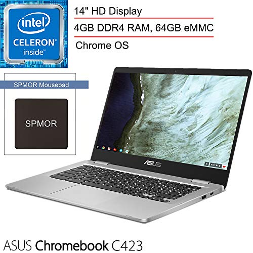 "2020 ASUS Chromebook C423 14"" Laptop Computer for Business Student, Intel Celeron N3350 up to 2.4GHz, 4GB DDR4, 64GB eMMC, 802.11AC WiFi, Bluetooth, USB Type-C, Chrome OS, SPMOR Mouse Pad (Renewed)"