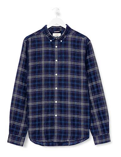 Springfield Franq Cuadros Lino-C/12 Camisa Casual, Azul (Medium_Blue 12), Large (Tamaño del fabricante: L) para Hombre