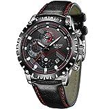 LIGE Relojes Hombres Cronógrafo Impermeable Militar Deportivo Analógico Cuarzo Relojes Hombre Moda Negro Cuero Calendario Relojes de Pulsera