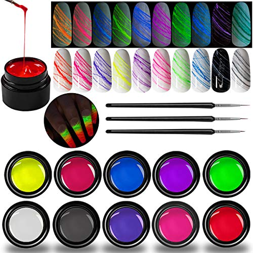SmoBea 10 Colors Luminous Spider Gel, Glow in The Dark Nail Polish Spider UV Gel Nail Art Drawing DIY Decorations for Halloween Party Dance Glow in The Dark, with 3 Nail Painting Pen