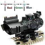 UUQ Prism 4x32 Red/Green/Blue Triple Illuminated Rapid Range Reticle Rifle Scope W/Top Fiber Optic Sight and Weaver Slots