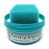 BioVeg5 | Pierre d'Argile 500 gr | Pierre Blanche Naturelle de Nettoyage et son Éponge Épaisse | Biodégradable et Respectueuse de la Peau | Senteur Citron (Turquoise, 500)