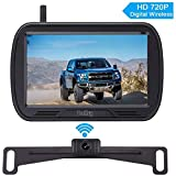 Yakry Y25 HD Digital Wireless Backup Camera System 5 Inch Monitor Hitch Rear View License Plate Camera for Trucks,Vans,Campers,Cars,SUVs Front View Camera Kit Guide Lines DIY Settings