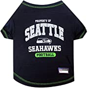 FEATURES: Your favorite FOOTBALL TEAM NAME, LOGO and NUMBER in vibrant team colors! Your PUPPY will look so cute & ADORABLE!!! Contrast neck and sleeve trim. Scroll down for a detailed description HIGH QUALITY MATERIAL: Breathable poly-cotton and sat...
