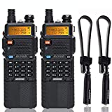2 Pack BaoFeng UV-5R High Power Tri-Power Portable Two-Way Radio 3800mAh Battery & ABBREE Tactical Antenna (2 X 5R8W+12.99')