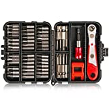 Tonsiki 53PCS Multifunction Hex Screwdriver Bit Set, Including 1/4 Inch High Torque Ratchet Wrench Drive, Magnetizer, 1/4 Inch Socket Extension Bit Holder, with 50PCS Screwdriver Bits