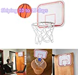 JQjian Universal Mini Portable Basketball Hoop Wall Mount for Kids, Indoor Folding Portable Suspension, Backboard Rim Combo Set (White)