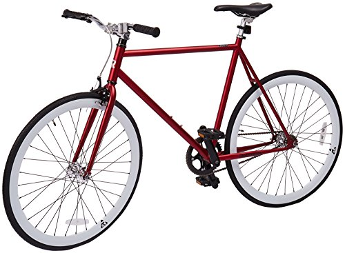Retrospec Mini Mantra Fixie Bicycle with Sealed Bearing Hubs and Headlamp, Crimson, 53cm/Medium
