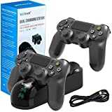 PS4 Controller Charger Charging Station, YCCSKY Dual Shock PS4 Chargers Controller PlayStation 4 Twin Charge Docking Station Stand Wireless PS4 Charger for Sony PS4/PS4 Pro/PS4 Slim Controller, Black