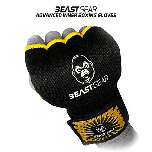 Beast Gear Guantes Boxeo Gel – Manoplas Boxeo de Calidad Superior para Deportes de Combate, MMA, Muay Thai, Artes Marciales - Large