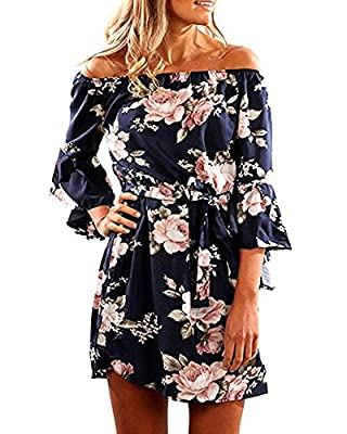 Material: Polyester Ruffles sleeve, off the shoulder, flower /floral print ,strapless, tunic design Perfect for the summer ,party ,work ,vacation, wedding ,club and casual wear Tips to avoid stactic :wash it and air dry then spray with antistatic spr...