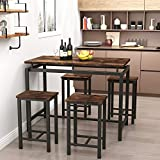 Recaceik Dining Table Set, 5 Piece Modern Kitchen Table and Chairs for 4, Metal Frame, Easy to Assemble (Rustic Brown)