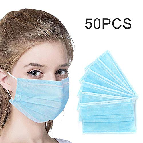 50pcs Disposable Earloop Face Ma sk-Protect Yourself from Dust, Germs and Pollen – Ideal for Medical Catering and Construction Workers