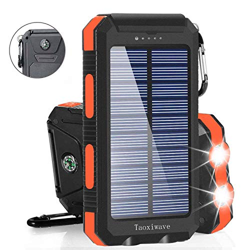 Solar Charger Solar Power Bank 20000mAh Waterproof Portable External Backup Outdoor Cell Phone Battery Charger with Dual LED Flashlights Solar Panel Compatible with All Smartphone (Black&Orange)