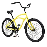 Knus Beach Cruiser Bike,26 inch Urban Single Speed Men Women's Cruiser Bicycle-Yellow