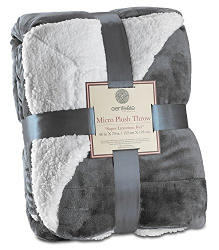 Genteele Sherpa Throw Blanket Super Soft Reversible Ultra Luxurious Plush Blanket (50 inches x 60 inches, Gray)