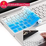 [2Pack] Keyboard Cover Skin for 15.6 HP Pavilion X360 15-BR075NR 15M-BP012DX BP011DX BP111DX BP112DX 15M-BQ021DX BQ121DX, 15-BS020NR 15-BS020WM 15-BS013DX 15-BW011DX, HP Envy 17M (gradualblue)