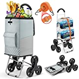 Shopping Cart, Heavy Duty Stair Cart 220 lbs Capacity Grocery Cart...