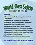 World Class Safety, Ten Rules Poster 22' X 28' Peel and Stick, Made in The USA