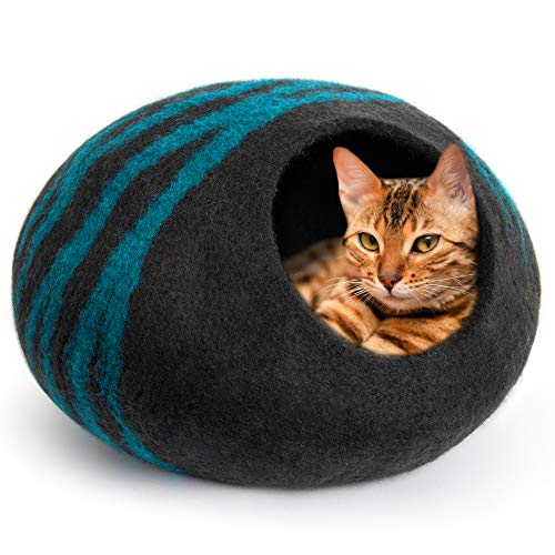 MEOWFIA Premium Felt Cat Cave Bed (Large) - Eco Friendly 100% Merino Wool Bed for Large Cats and Kittens (Large, Black/Aqua)