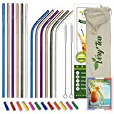 Very'tea - 12 Pailles INOX [Multicolore - Certifiées NF] + 12 Embouts Silicone + Ebook Cocktail +...