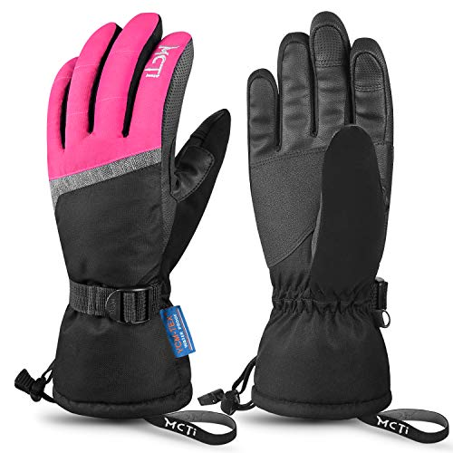 MCTi Ski Gloves,Winter Waterproof Snowboard Snow 3M Thinsulate Warm Touchscreen Cold Weather Women Gloves Wrist Leashes Rose Red Medium