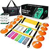 Agility Ladder Bundle – Gain Speed with Agility Training Equipment. Adjustable 20ft/12 Rung Agility Ladder, Sports Cones, Durable Resistance Bands, Carry Bag, Jump Rope and Footwork Training Drills