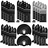 PECHAM 24PCS Universal Wood Metal Oscillating Multitool Quick Release Saw Blades Fit Porter Cable Black & Decker Rockwell Ridgid Ryobi Milwaukee DeWalt Chicago Craftsman