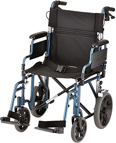 "NOVA Lightweight Transport Chair with Locking Hand Brakes, 12"" Rear Wheels, Removable & Flip Up Arms for Easy Transfer, Anti-Tippers Included, Blue"